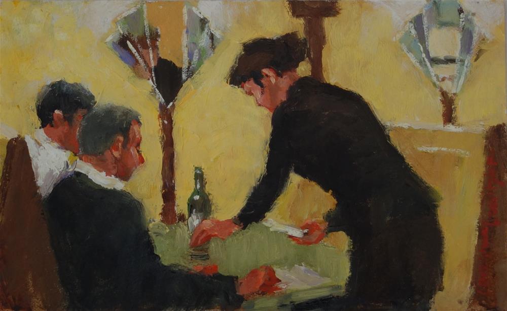 """""""Menus and Wine"""" original fine art by Lorraine Lewitzka"""