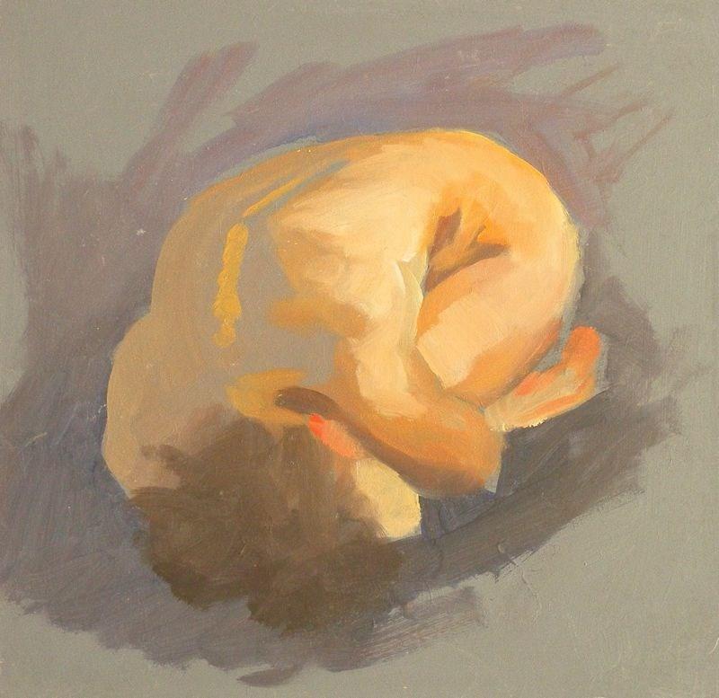 """Curled nude"" original fine art by Peter Orrock"