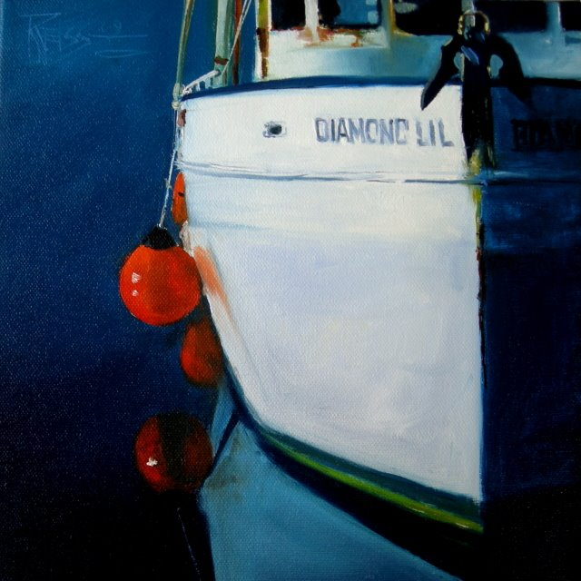 """Diamond Lil  marine, oil painting"" original fine art by Robin Weiss"