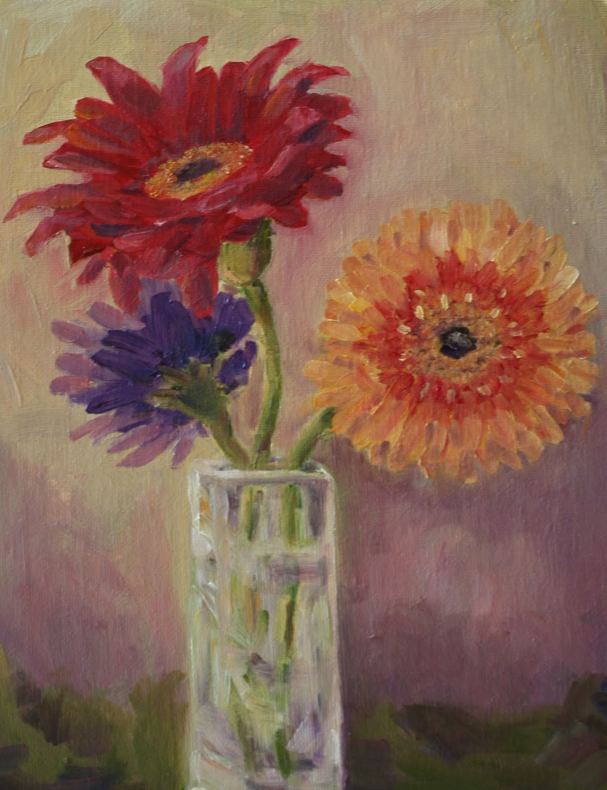 """Red Gerber Daisy and Friends"" original fine art by Maggie Flatley"
