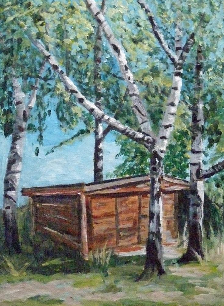 """The hut at the old ranch"" original fine art by Eva Grünwald"