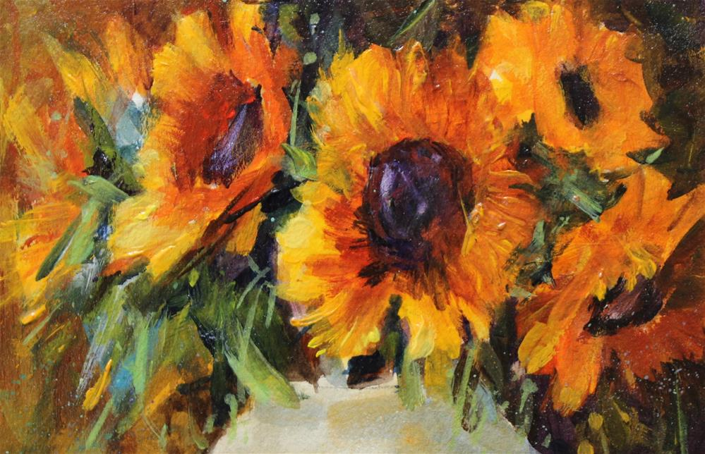 """Original sunflower floral flower still life art painting"" original fine art by Alice Harpel"