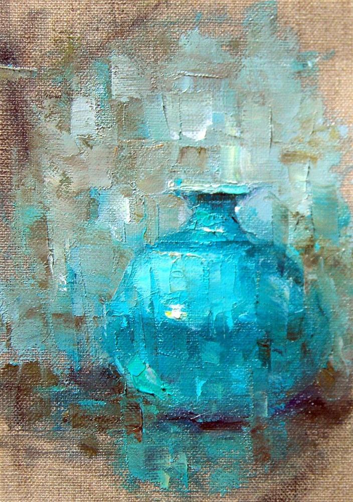 """""""Oil Sketch of Blue Vase"""" original fine art by Julie Ford Oliver"""