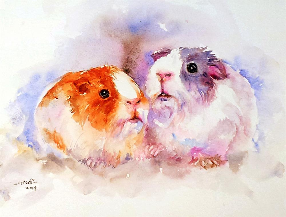 """Fuzzy Buddies_ Guinea Pigs"" original fine art by Arti Chauhan"