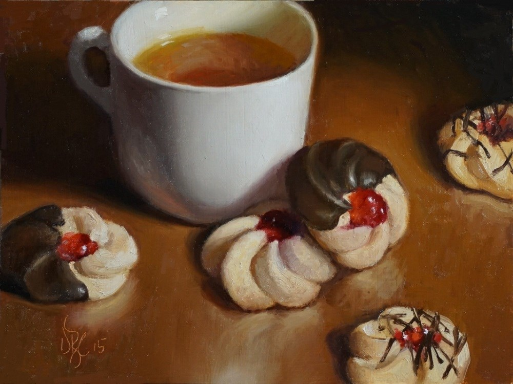 """Tea and Cookies"" original fine art by Debra Becks Cooper"