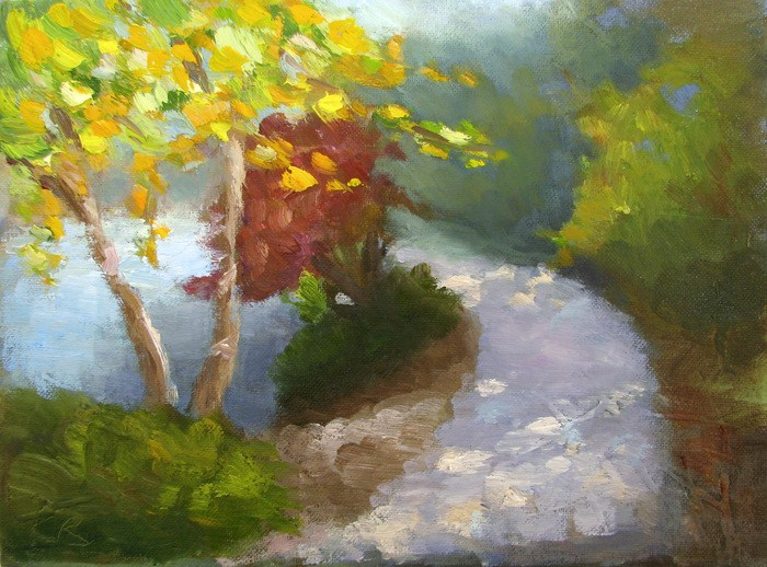 """River Birch, Early Autumn"" original fine art by Keiko Richter"