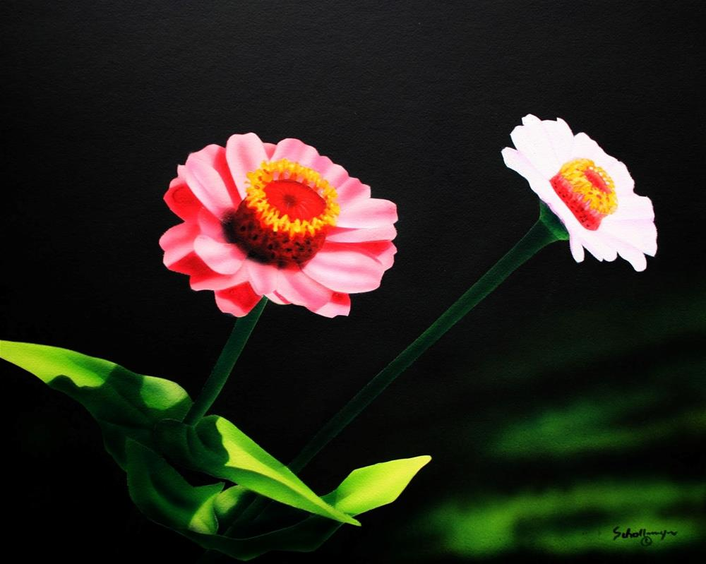 """August Zinnias"" original fine art by Fred Schollmeyer"