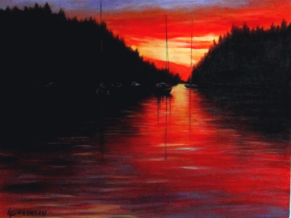 """18 x 24 inch oil Galiano Sunset"" original fine art by Linda Yurgensen"