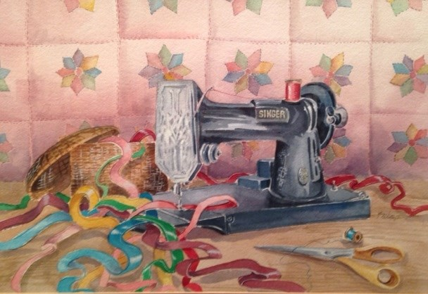 """Singer Sewing Fun"" original fine art by Margie Whittington"