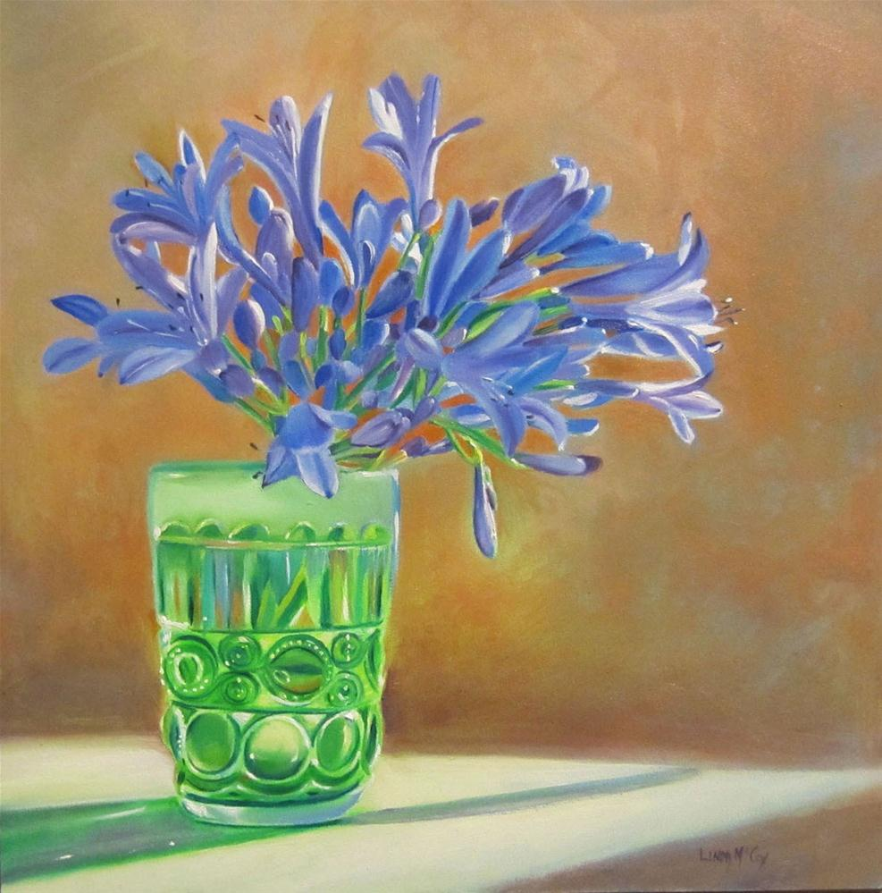 """Tangled Up in Blue, Agapanthus Oil Painting, Linda McCoy"" original fine art by Linda McCoy"