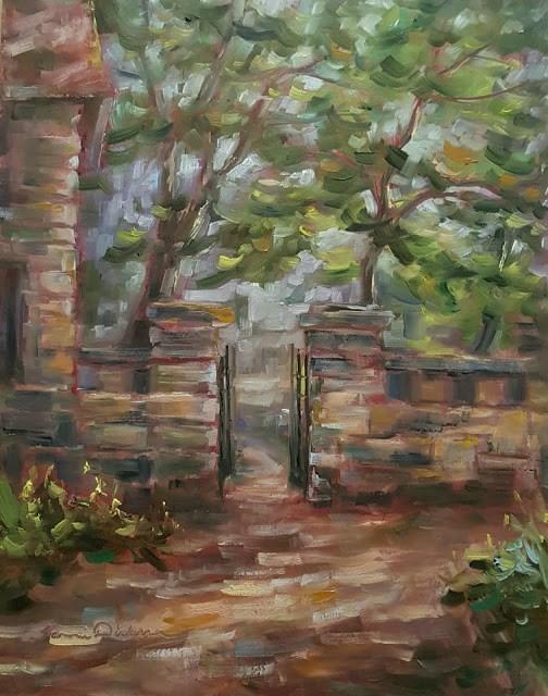 """""""Through the Garden Gate"""" original fine art by Tammie Dickerson"""