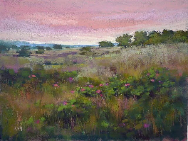 """Pastel Demo: Nantucket Island Meadow on Canson"" original fine art by Karen Margulis"