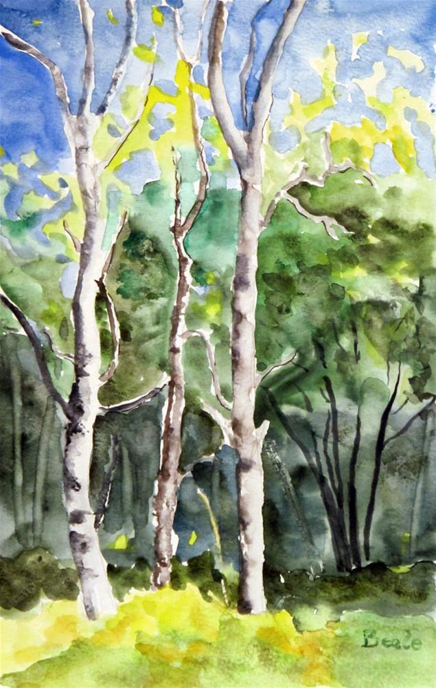 """Poplars in Early Autumn"" original fine art by  David Beale"
