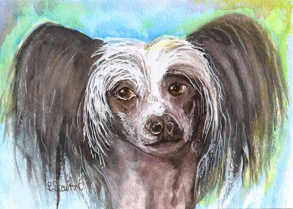 """""""5x7 Chinese Crested Dog Pet Portrait Painting Watercolor Art Penny Lee StewArt"""" original fine art by Penny Lee StewArt"""