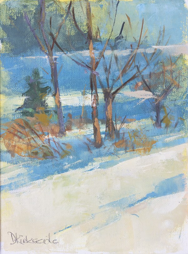 """Winter Shadows Abstract Winter Landscape Deb Kirkeeide"" original fine art by Deb Kirkeeide"