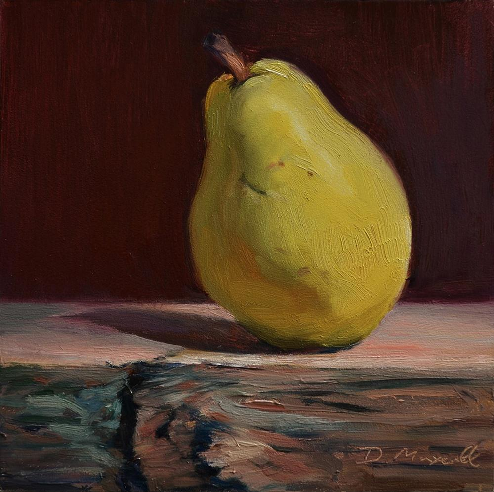 """Yellow Bartlett Pear Study #3"" original fine art by Denise Maxwell"