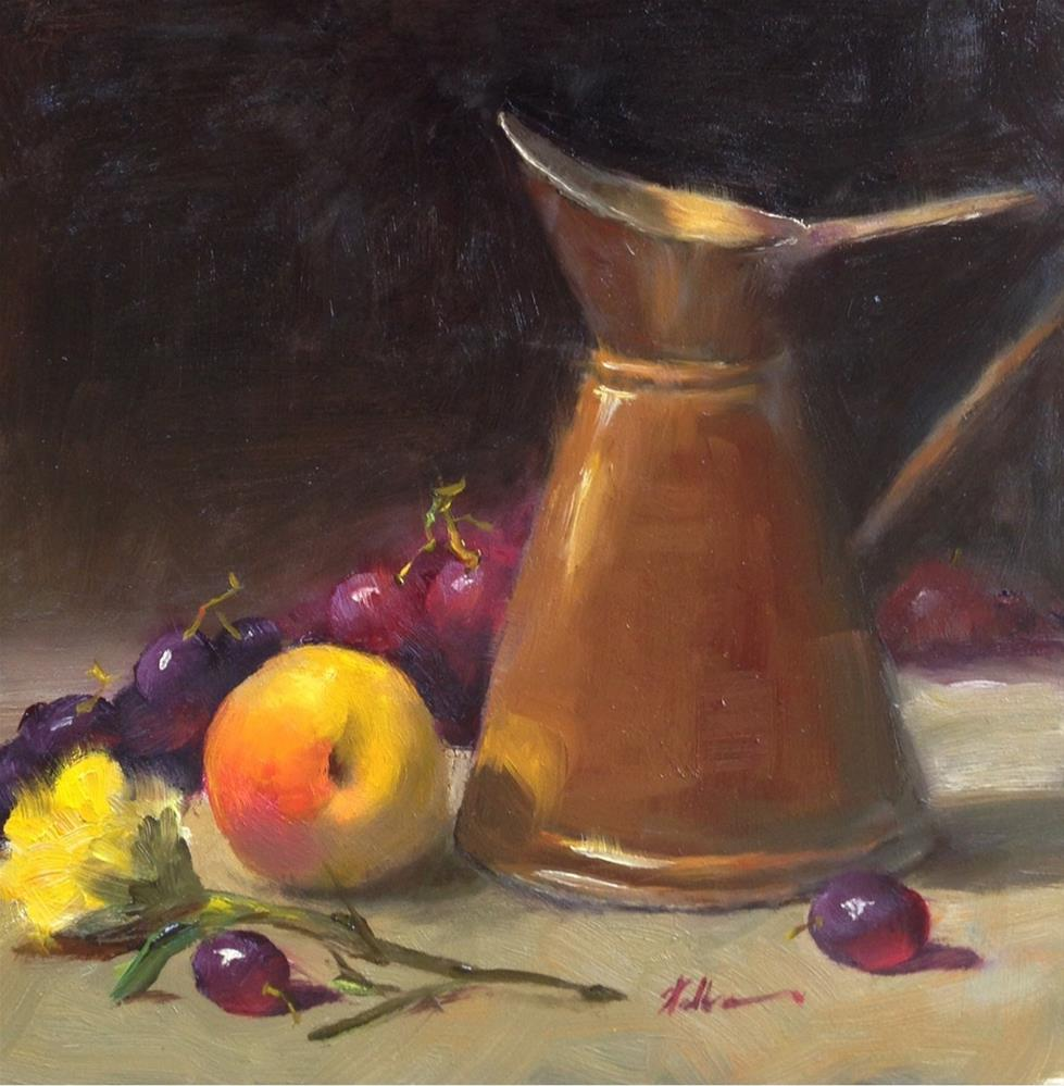 """Copper Pitcher with Peach"" original fine art by Dorothy Woolbright"