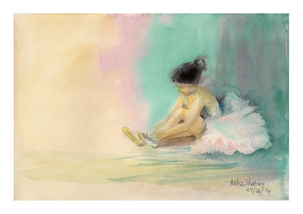 """The Little Ballerina"" original fine art by Asha Shenoy S"