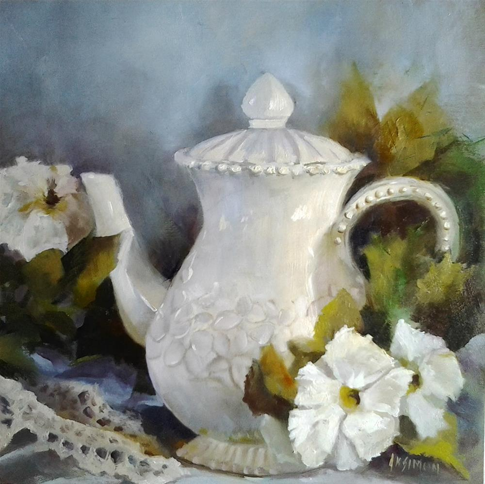 """""""Plucked Petunias by the Pitcher"""" original fine art by A.K. Simon"""
