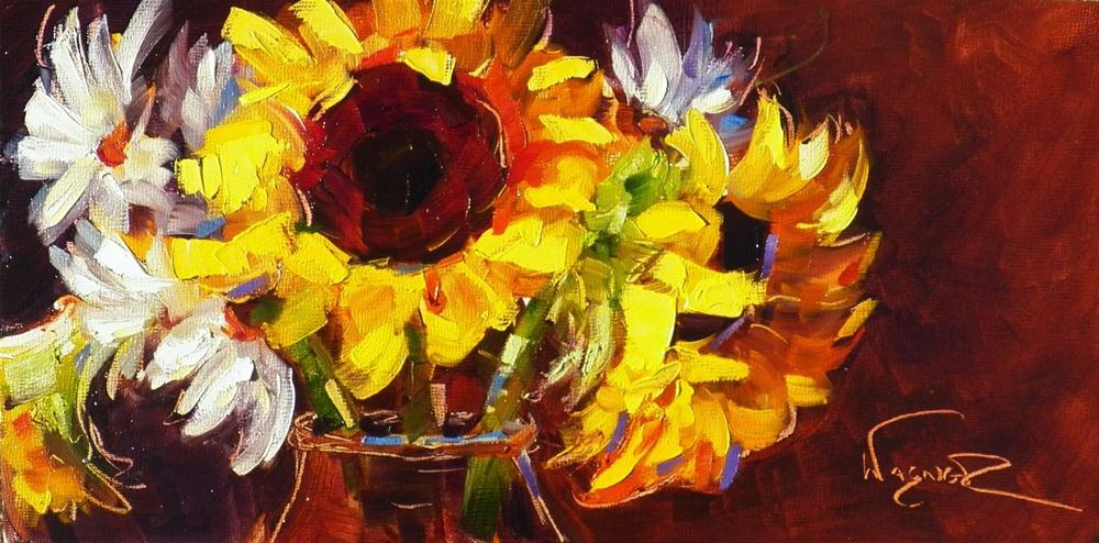 """SUNFLOWER PAINTING AND ARTIST RECEPTION"" original fine art by Olga Wagner"