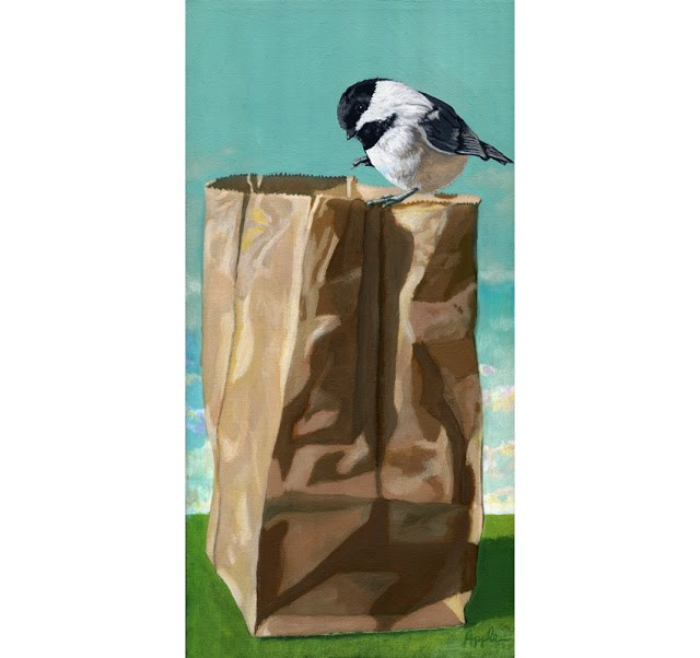 """Cute Little Chickadee realistic bird, nature original painting by L. Apple"" original fine art by Linda Apple"