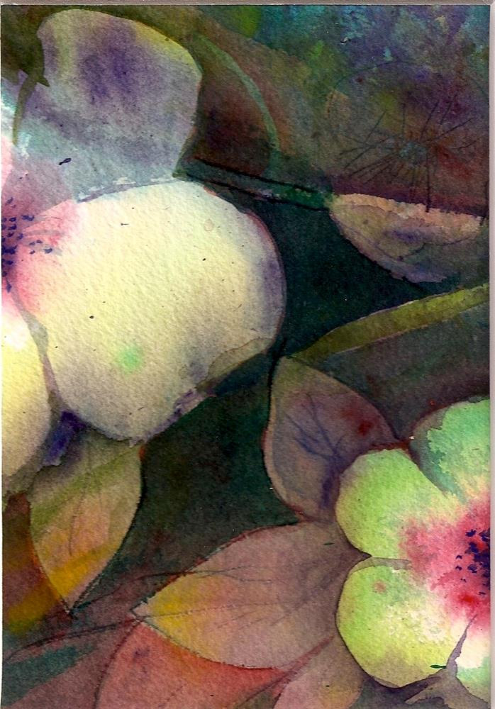 """Abstract Floral 5x7 watercolor white flowers Two Paintings by Penny StewArt"" original fine art by Penny Lee StewArt"