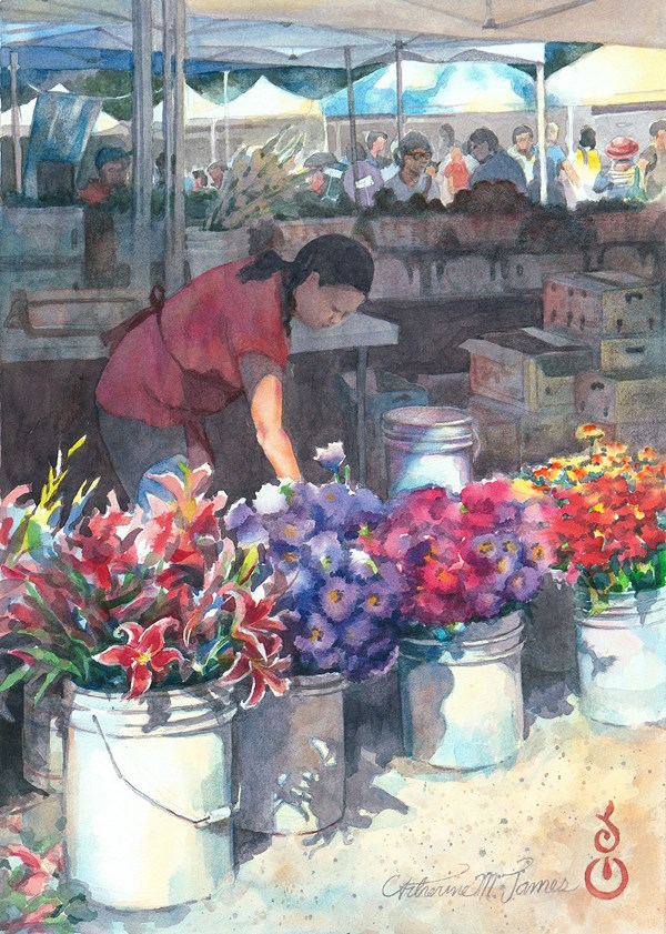 """Buckets of Flowers"" original fine art by Catherine M. James"