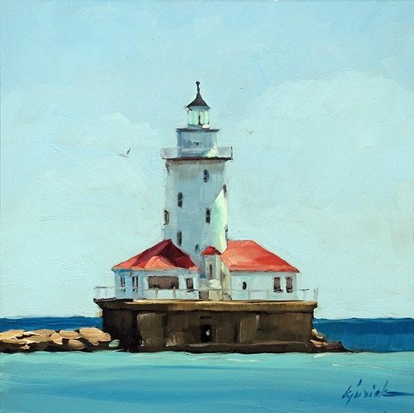 """""""Harbor Light"""" original fine art by Karin Jurick"""