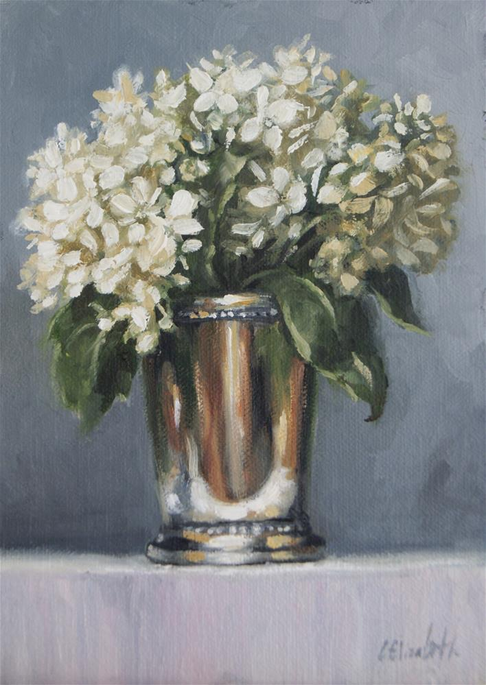 """Still Life with White Hydrangeas in Mint Julep Cup,  Oil on 5x7 Linen Panel"" original fine art by Carolina Elizabeth"