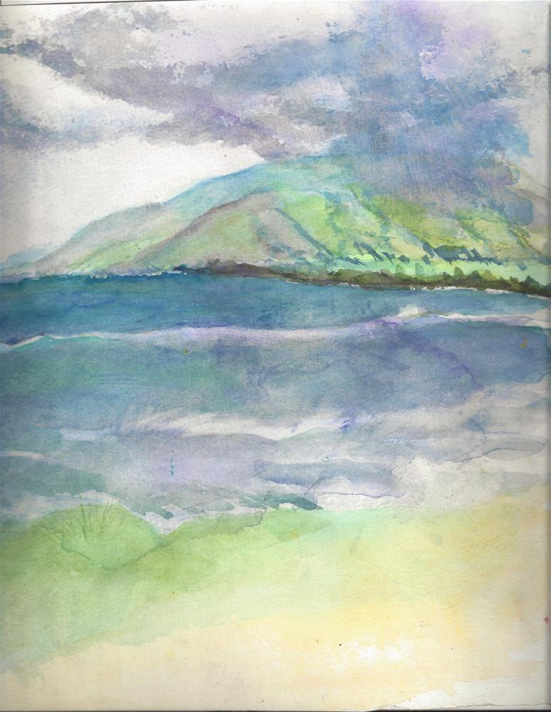 """""""Maui Seascape Sugar Beach"""" original fine art by Elizabeth Current"""