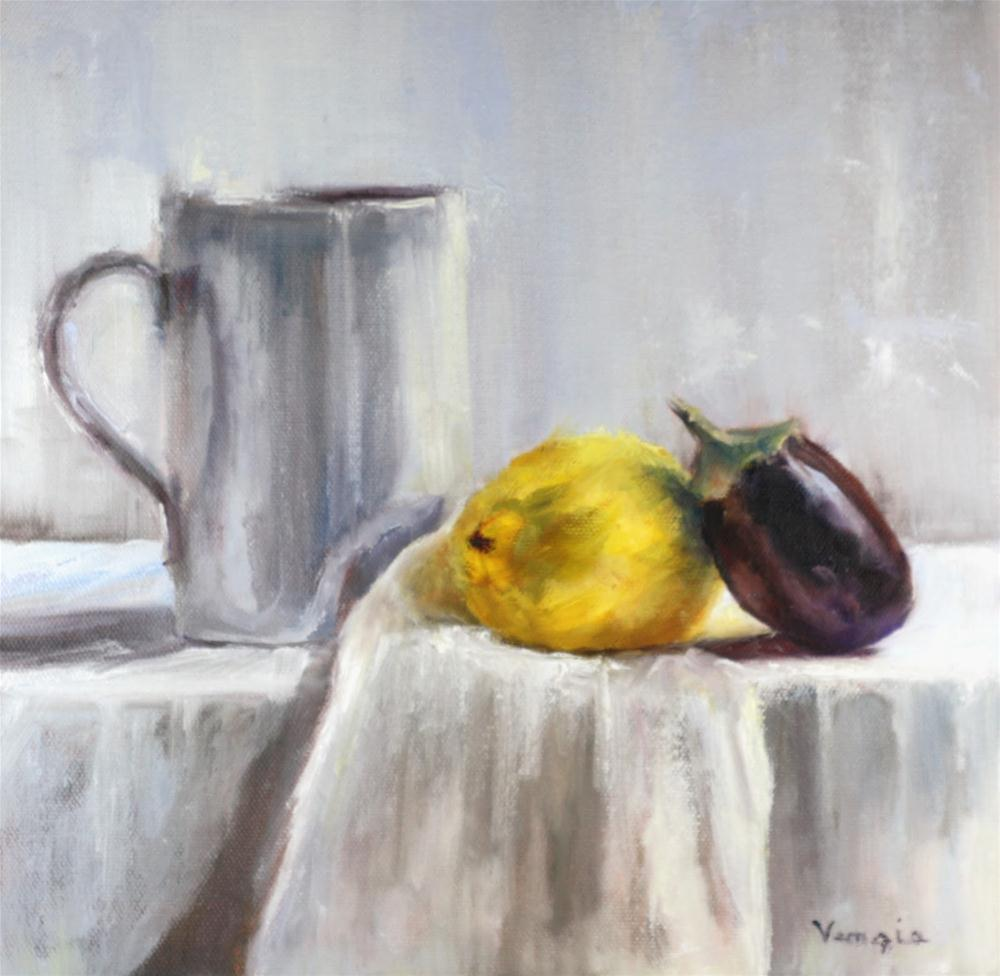 """Still Life with Lemon,Eggplant and White Cup"" original fine art by Carrie Venezia"