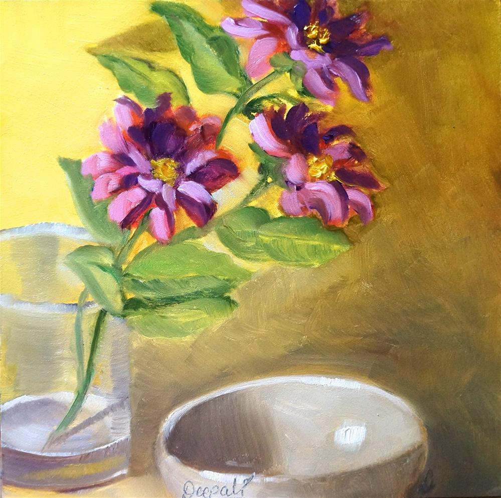 """Flowers and bowl"" original fine art by Dipali Rabadiya"