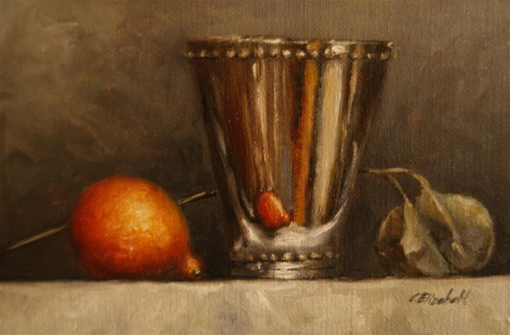 """Mint Julep Cup and Mandarin Still Life"" original fine art by Carolina Elizabeth"
