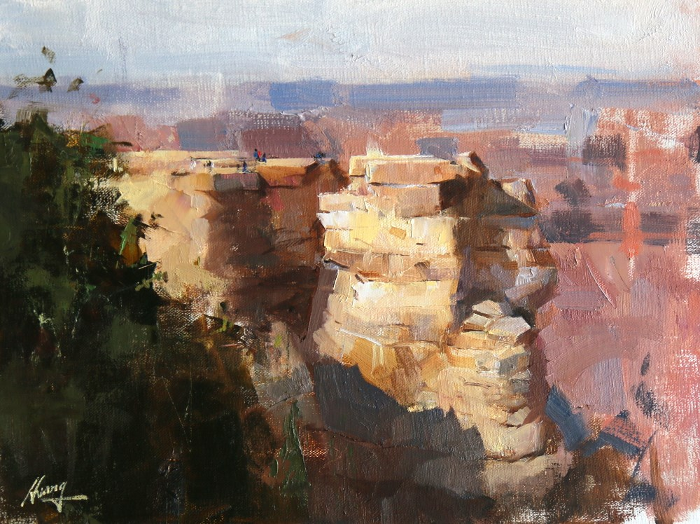 """Rock Piles in the Canyon"" original fine art by Qiang Huang"