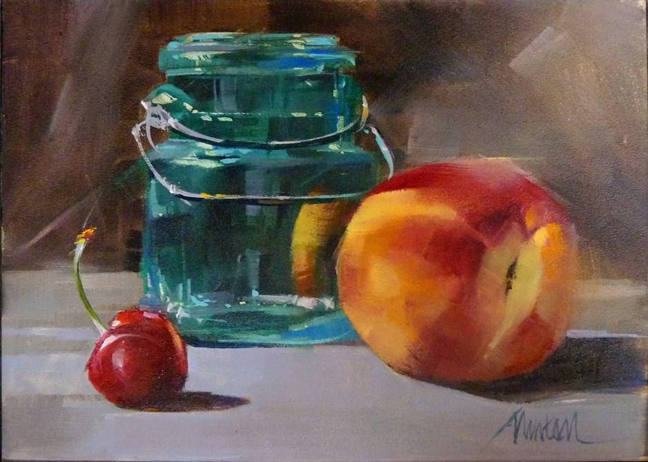 """""""Nectarine and Cherry"""" original fine art by Barbara Benedetti Newton"""