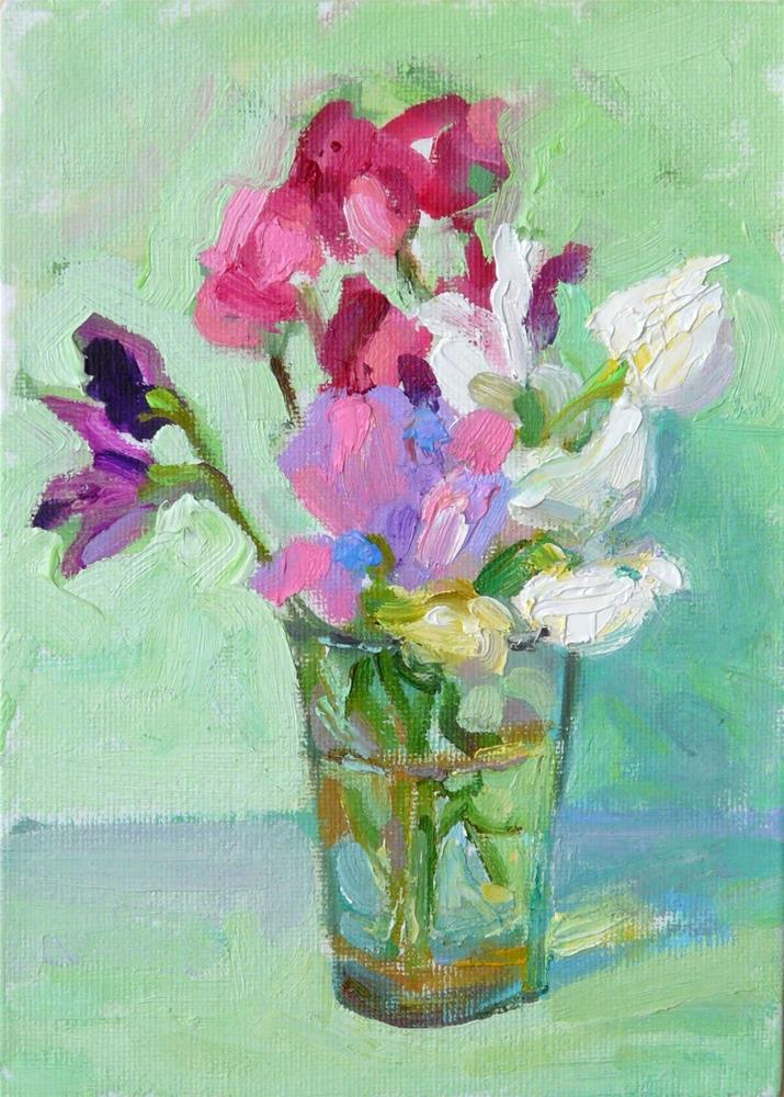 """Sweet Peas in Glass,still life,oil on canvas,7x5,price$175"" original fine art by Joy Olney"