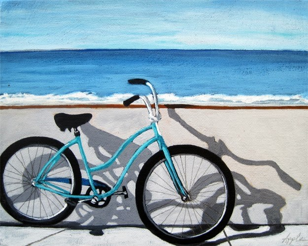 """Ocean view bicycle art by Linda Apple"" original fine art by Linda Apple"