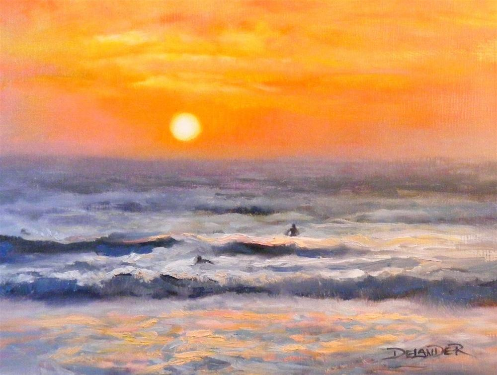 """Twilight Surf Study, Seascape Oil Painting"" original fine art by Diana Delander"