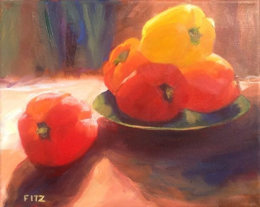 """""""Peppers"""" original fine art by Jean Fitzgerald"""