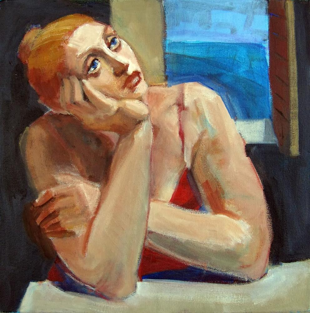 """By The Window, figurative woman art"" original fine art by Marie Fox"