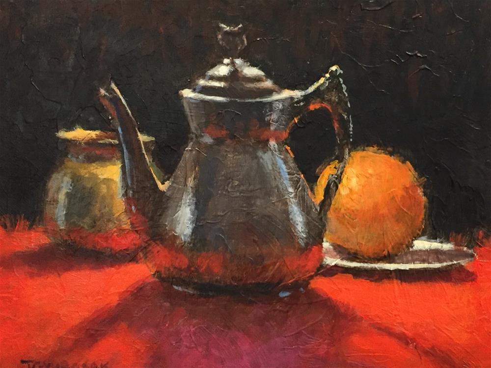 """orange2 still life"" original fine art by Joe Gyurcsak"