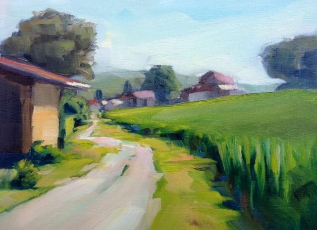 """Along the wheat"" original fine art by Thomas Ruckstuhl"