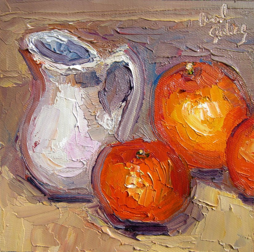 """Creamer with Thai Teacher's Tree Oranges"" original fine art by Carol Steinberg"