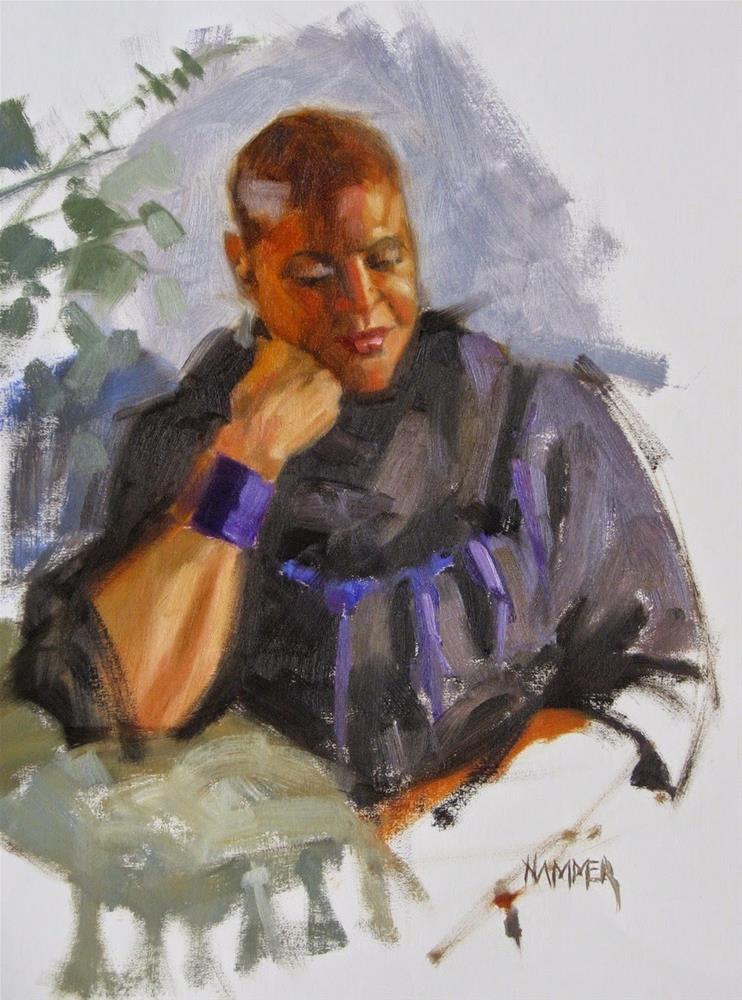 """Purple bracelet 11 x 14 oil"" original fine art by Claudia Hammer"