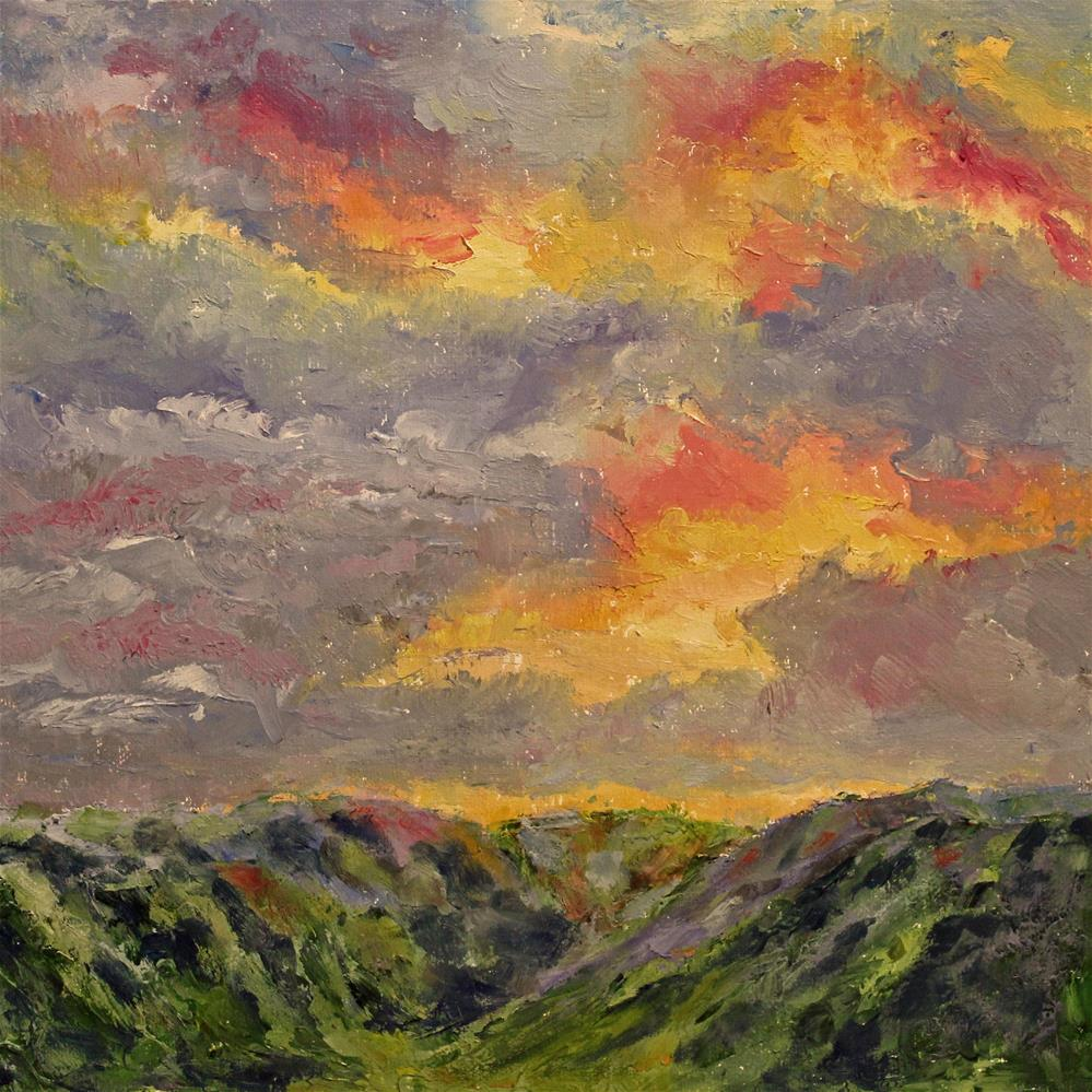 """Mountain Sunset"" original fine art by Barbara Janecka"