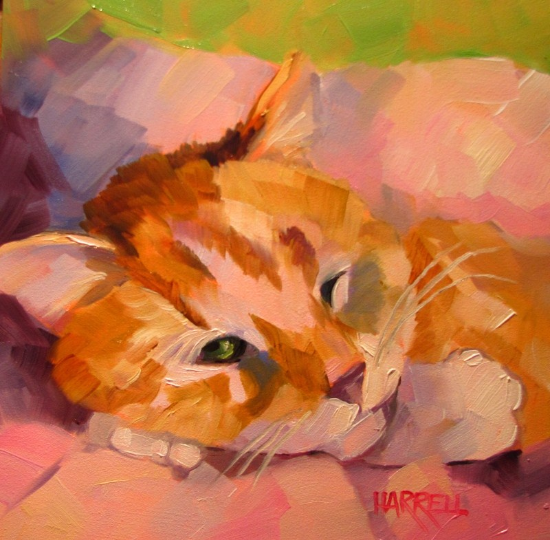"""Catnap"" original fine art by Sue Harrell"