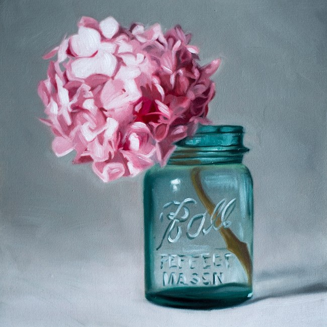 """Jar of Hydrangeas"" original fine art by Lauren Pretorius"