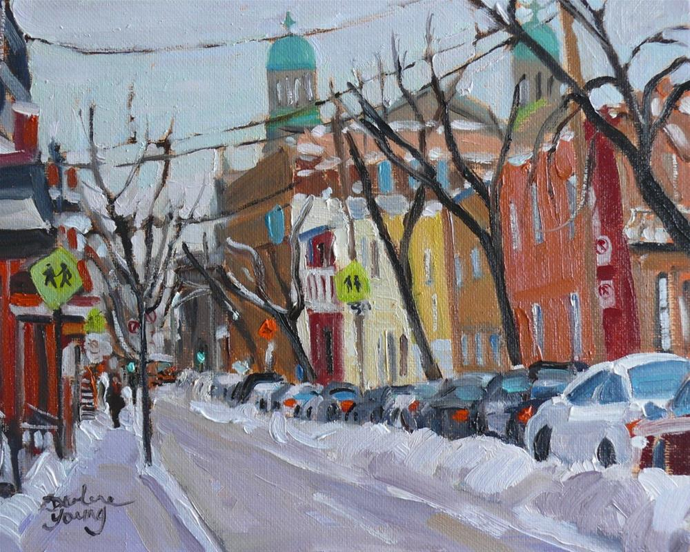 """907 Le Plateau Montreal Scene, oil on board, 8x10"" original fine art by Darlene Young"