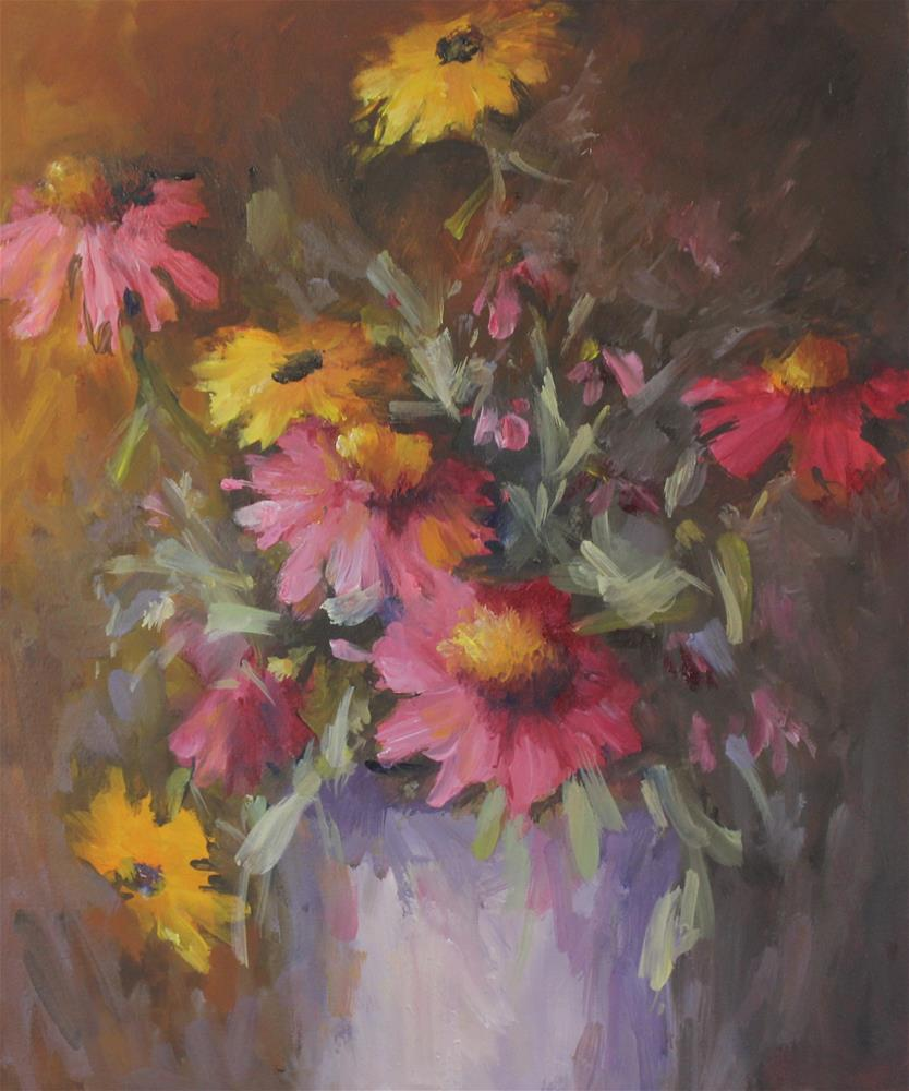 """Original oil coneflower still life floral flower painting"" original fine art by Alice Harpel"