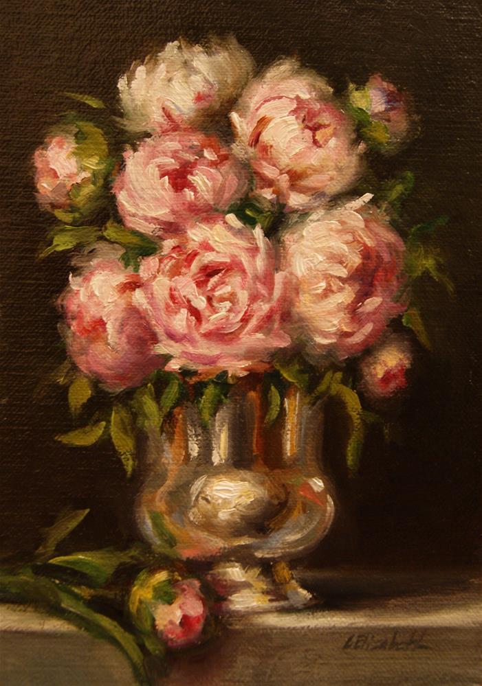 """Peonies in Silver Vase,  Oil on 5x7 Linen Panel"" original fine art by Carolina Elizabeth"